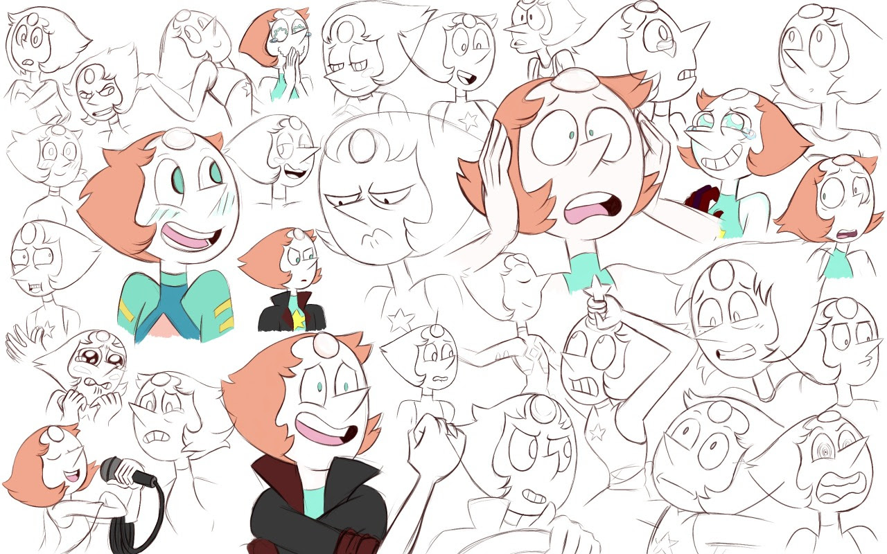 I gave up coloring on these. Porl was shockingly easy to draw, imo, except her bloody nose. Could never quite get the size right… Expression practice take 3 starring SU characters.