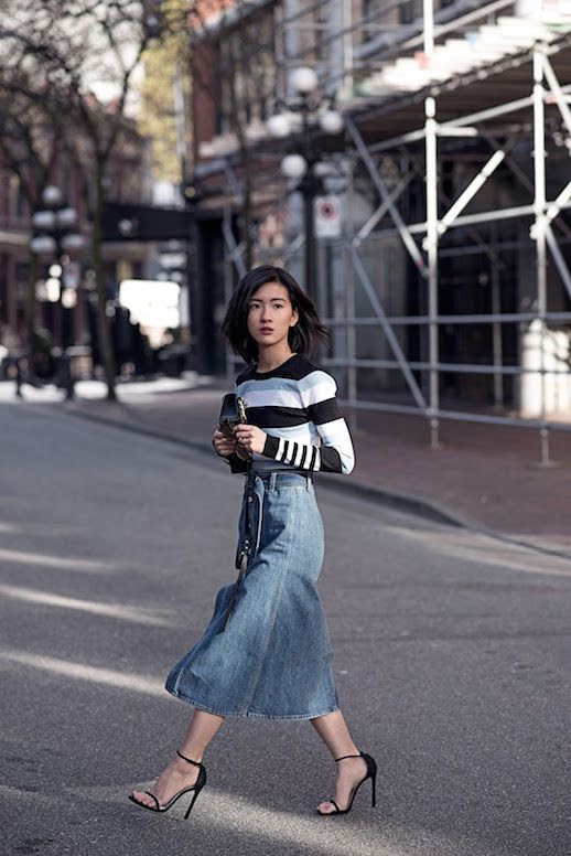 Le Fashion Blog Striped Top Denim Skirt Black Heels Via Von Vogue