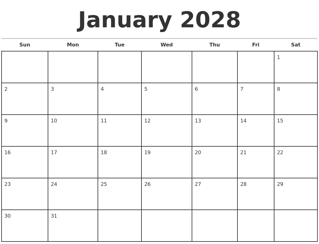 january 2028 monthly calendar template