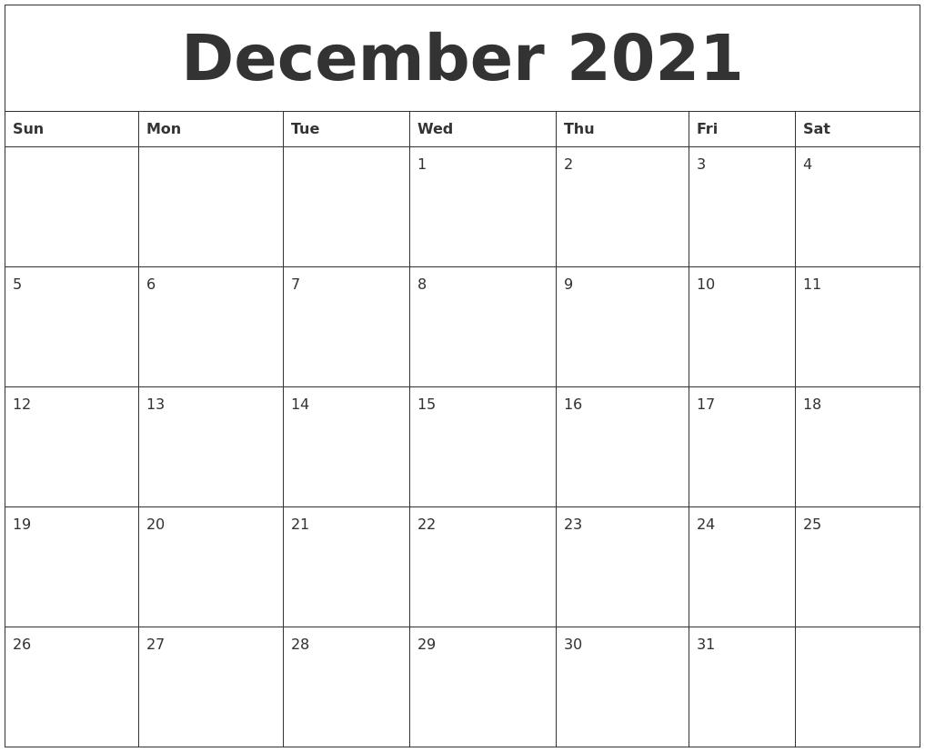 December 2021 Calendar Word | Lunar Calendar