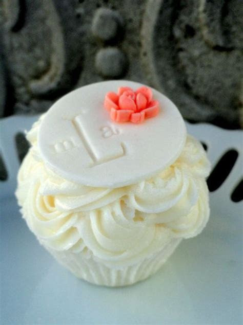 #Monogram #Cupcake Topper Pink Sugar Flower Accent by
