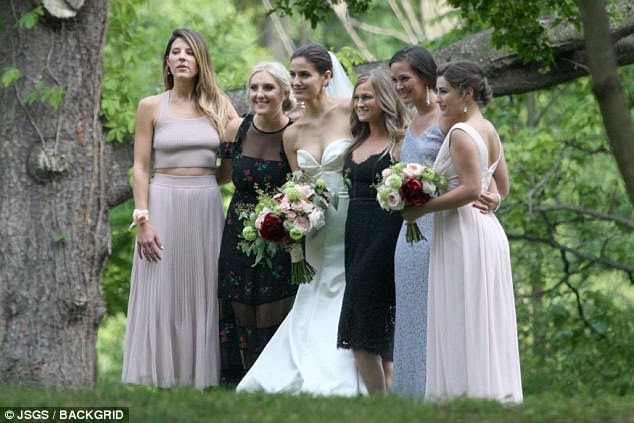 Beauties: The bride posed with her girl friends