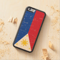 Scuffed and Scratched Filipino Flag Carved® Maple iPhone 6 Bumper Case