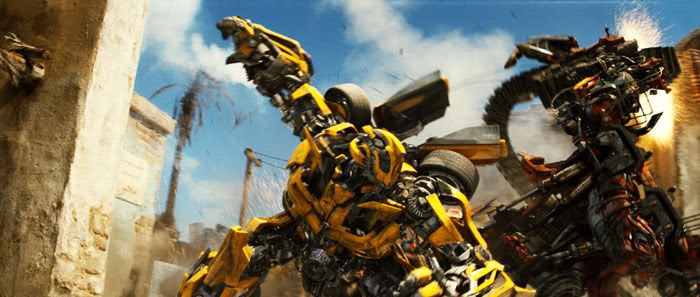 Bumblebee fights the Decepticon known as Rampage.