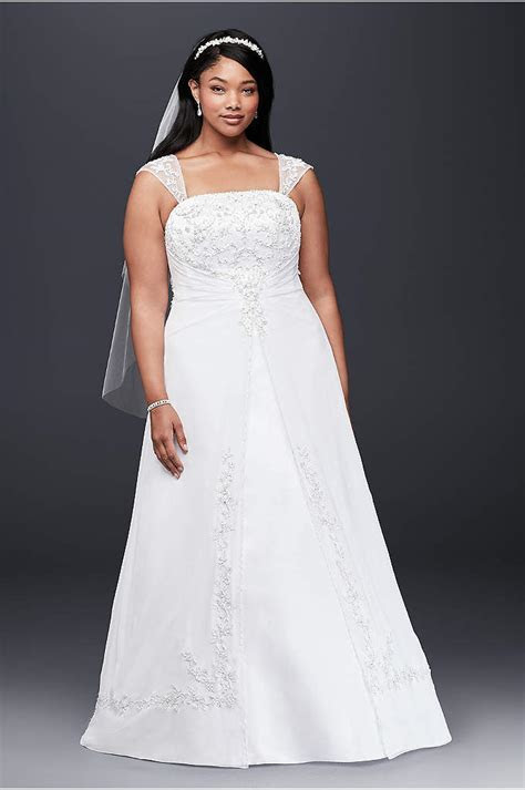 Cap Sleeve Lace Over Satin Plus Size Wedding Dress