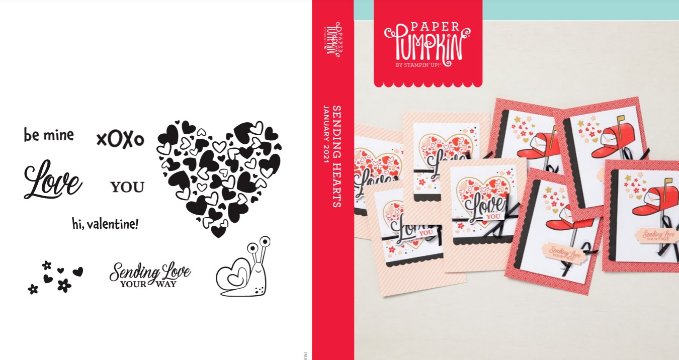 January 2021 Paper Pumpkin: Sending Hearts stamp set case insert #paperpumpkin