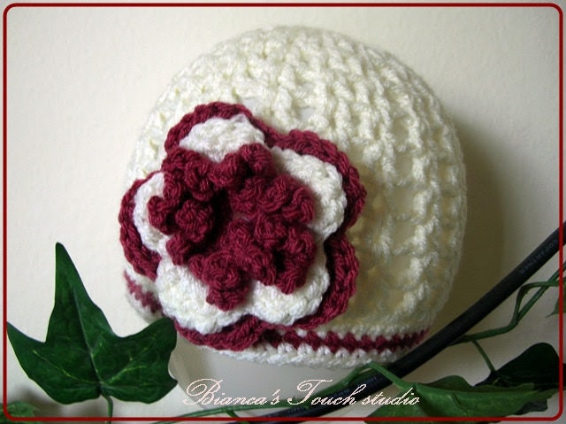 baby/Toddler Crochet Beanie with flower.  Pattern in PDF