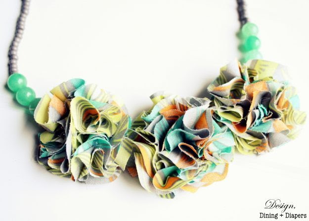 Fabric Flower and Beaded Necklace