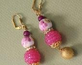 "2"" 3/4 L Pink n White porcelain, jade stones, hot pink rhinestone ball, gold ball,  dangle,drop, earrings"
