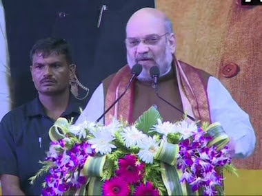 Union Home Minister Amit Shah addresses an event. News18