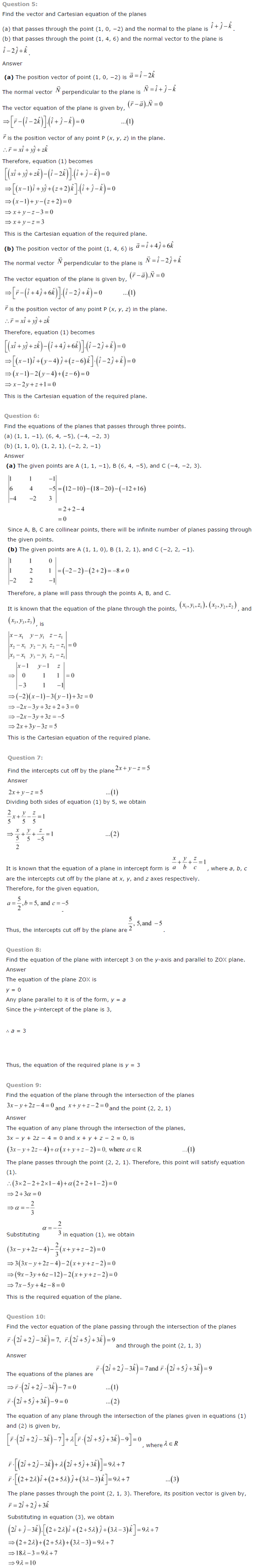 NCERT Solutions for Class 12 Maths Chapter 11 Three Dimensional Geometry ex 11.6