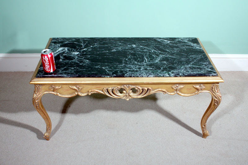Regent Antiques - Occasional and side tables - Italian Giltwood Verde Antico Marble Coffee Table