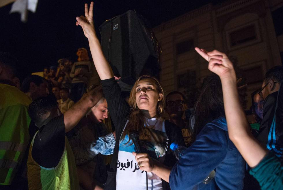 Nawal Benaisa, en una manifestación en Alhucemas el 31 de mayo.