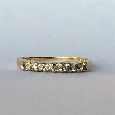 Vintage Diamond Wedding Band. 14K Yellow Gold. April