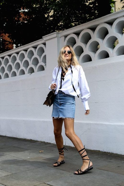 Le Fashion Blog Lucy Williams Denim Skirt Lace Up Sandals Pirate Blouse Via Fashion Me Now