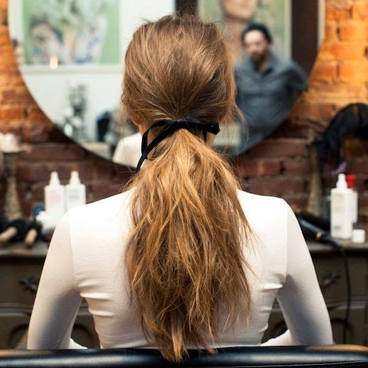 Le Fashion Blog Hair DIY Black Ribbon Tied Around Wavy Ponytail White Mock Neck Turtleneck Sweater Via The Coveteur