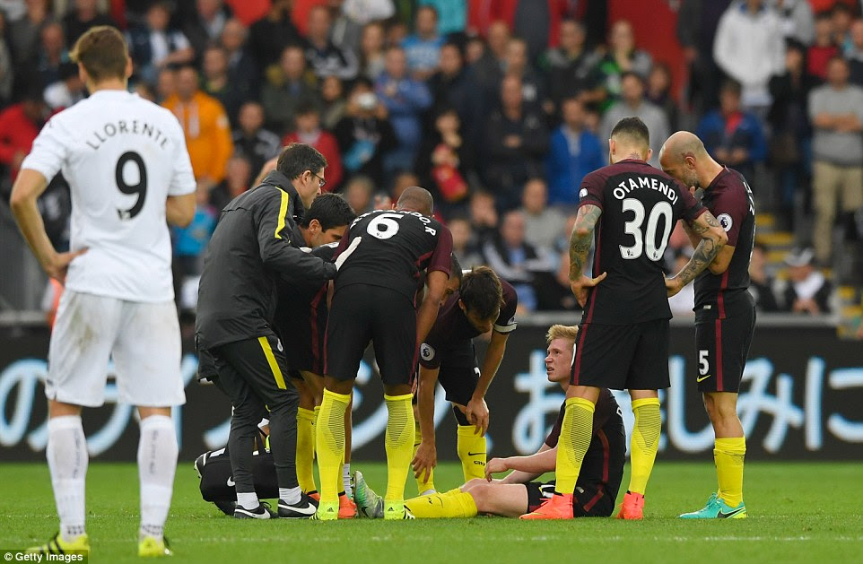 But there was an element of concern of Guardiola after Kevin De Bruyne was taken off after suffering an injury
