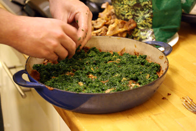 Layer of spinach