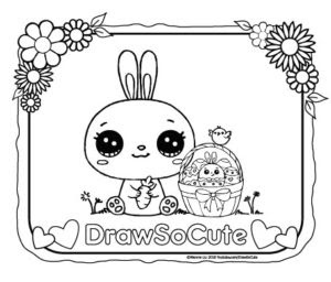 easter bunny and basket coloring page  draw so cute