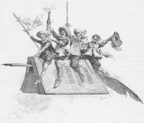 d'Artagnan y los mosqueteros; caricatura