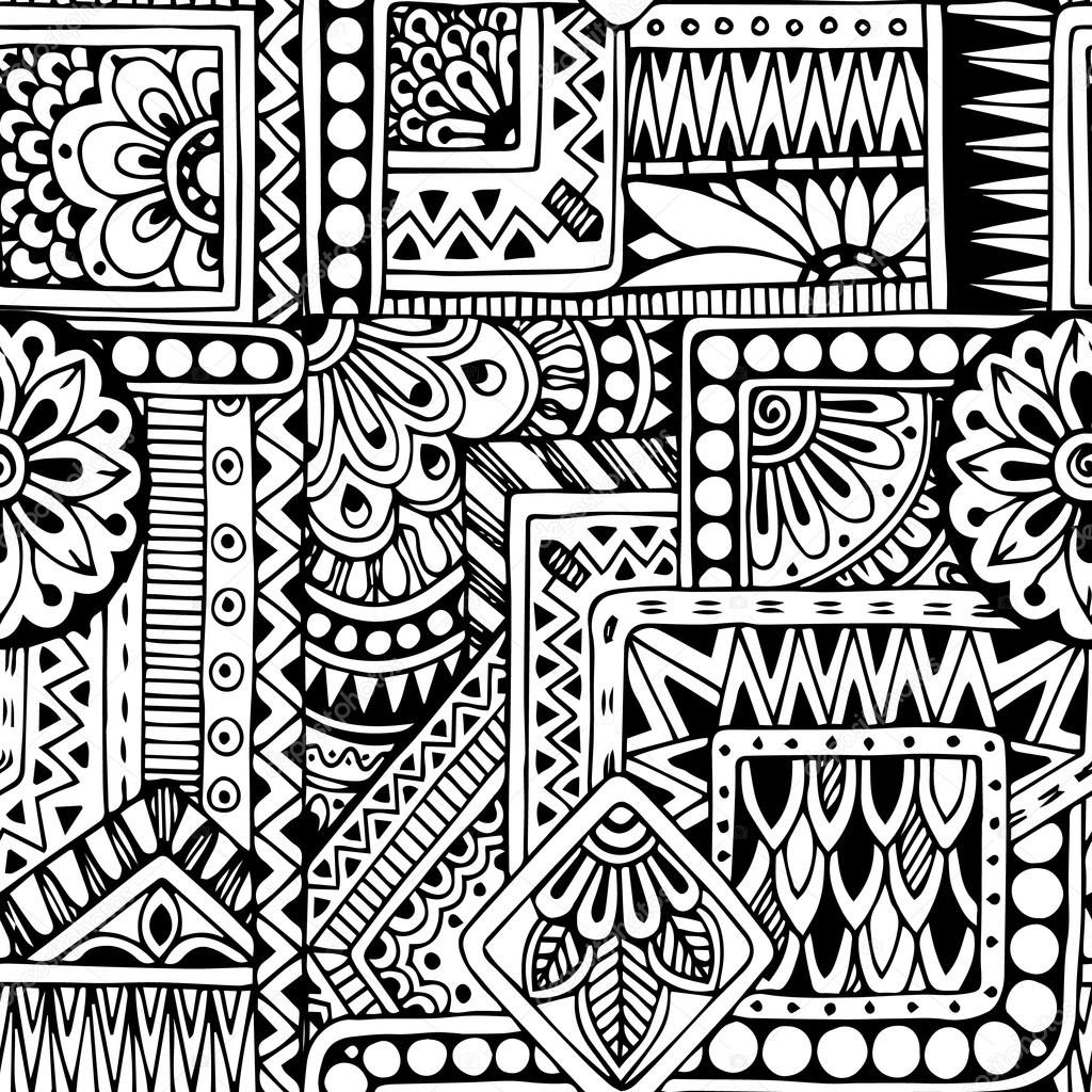 depositphotos_71488005 stock illustration seamless floral doodle black and