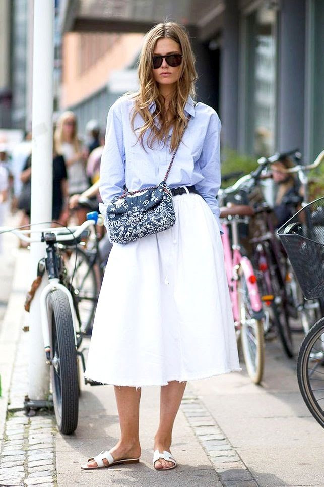 Le Fashion Blog Model Off Duty Street Style Caroline Brasch Nielsen Blue Shirt Chanel Bandana Bag Hermes H Sandals White Midi Skirt photo Le-Fashion-Blog-Model-Off-Duty-Street-Style-Caroline-Brasch-Nielsen-Blue-Shirt-Chanel-Bandana-Bag-Hermes-H-Sandals-White-Midi-Skirt.jpg