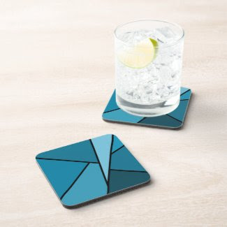 Abstract Teal Polygons Beverage Coasters