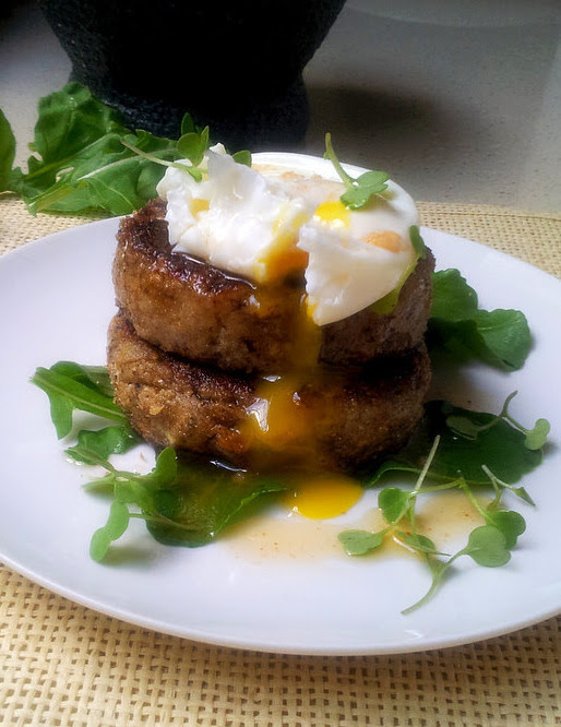 Vegetarian Aubergine Burgers with Poached Eggs & a Paprika-Garlic Dressing