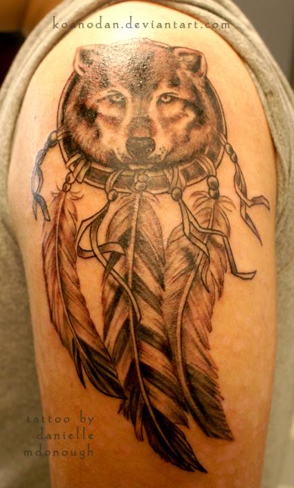Wolf Dreamcatcher Tattoo Design