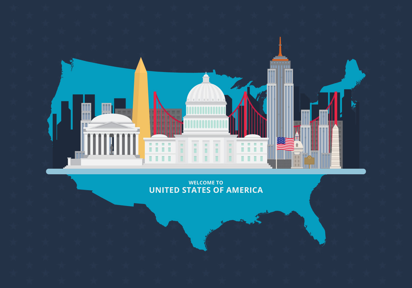 Welcome To Usa United States Of America Poster