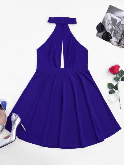 Zaful Sleeveless Plunge Mesh Backless Dress