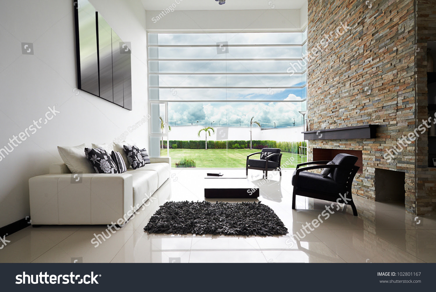 Modern Living Room Interior Stock Photo 138547388 ...