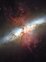 Спиральная Галактика M82 (фото Хаббла)