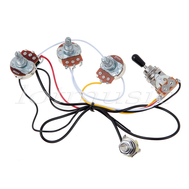One Set Of Electric Guitar Wiring Harness 3 Way 2v1t 500k Open Toggle Switch With Mounting Nut And Switch Tip And Cap Guitar Set Toggle Switch Nuttoggle Switch Cap Aliexpress