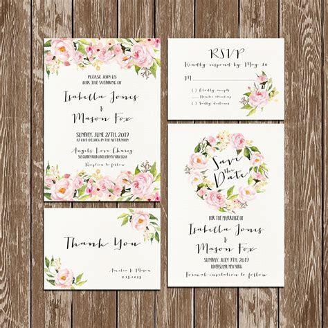 Invitation kit Wedding Invitation Floral watercolor