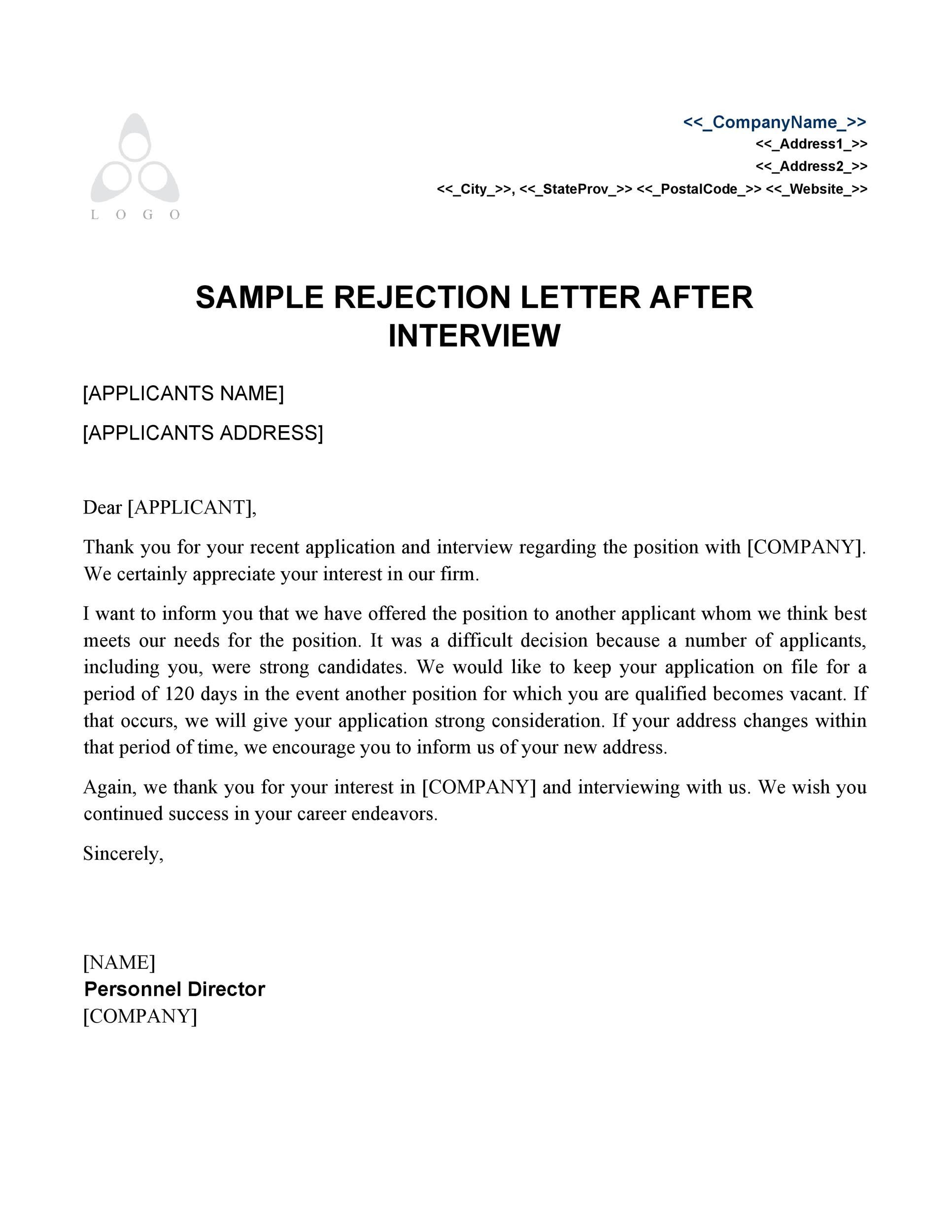 Sample Decline Letter To Applicant | Letter Template