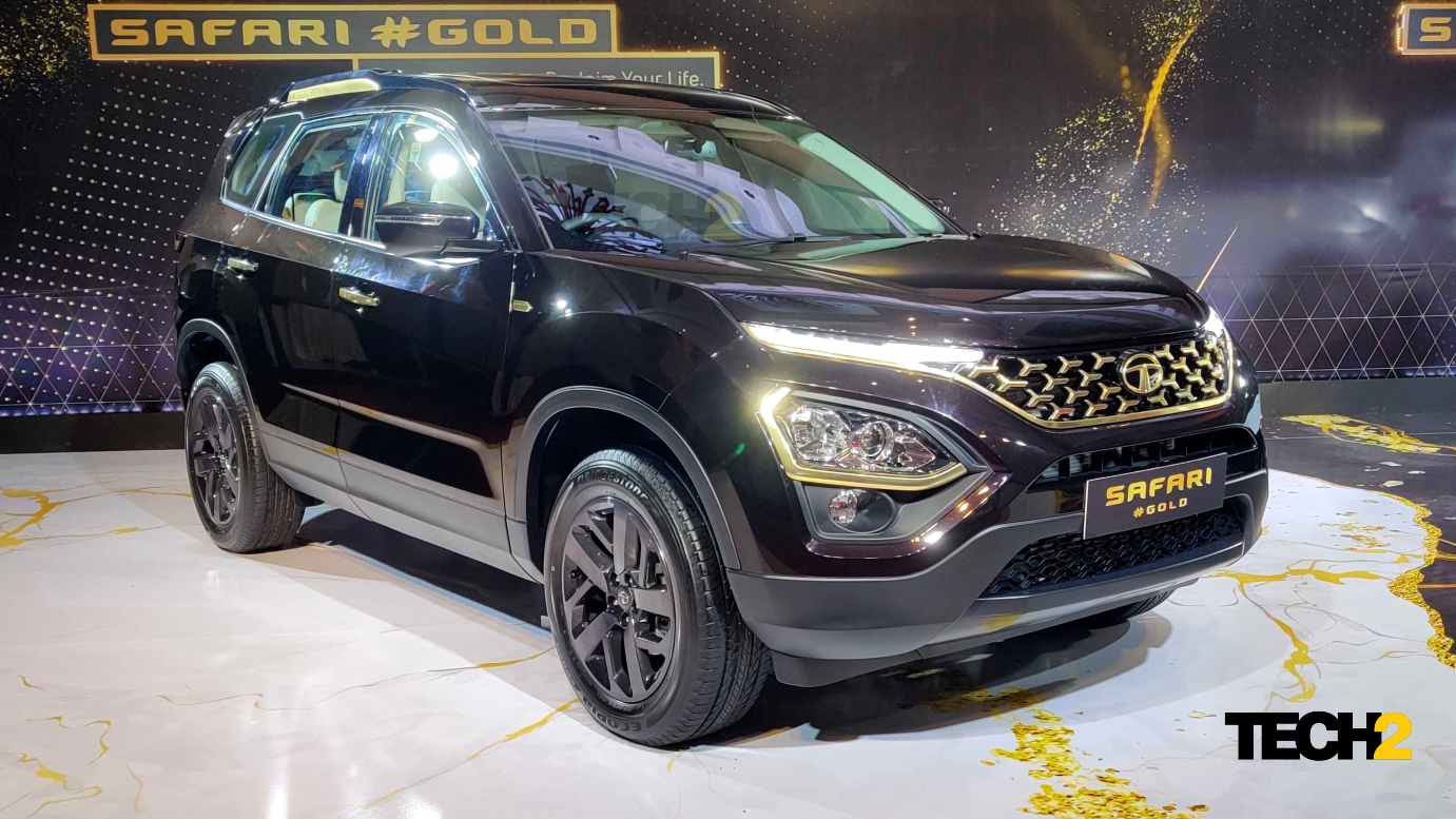 It is the Black Gold paint scheme of the Tata Safari Gold that grabs attention in the flesh. Image: Tech2/Amaan Ahmed