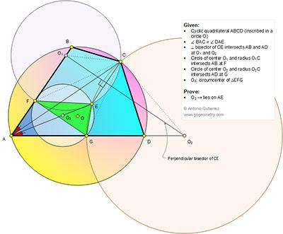 Online Math: Geometry Problem 1142: Cyclic Quadrilateral, Isogonal Lines, Circle, Center, Radius, Perpendicular Bisector, Circumcenter.