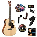 Yamaha FGX700SC Folk Acoustic-Electric Guitar Bundle w/Legacy Accessory Kit (Tuner, DVD and Much More)