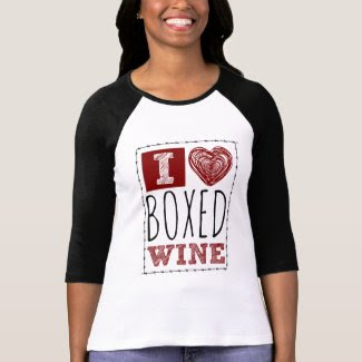 I Love Boxed Wine Barbed Wire and Heart Raglan T-Shirt