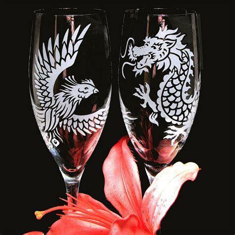 Dragon & Phoenix Wedding Champagne Flutes, Chinese Symbol