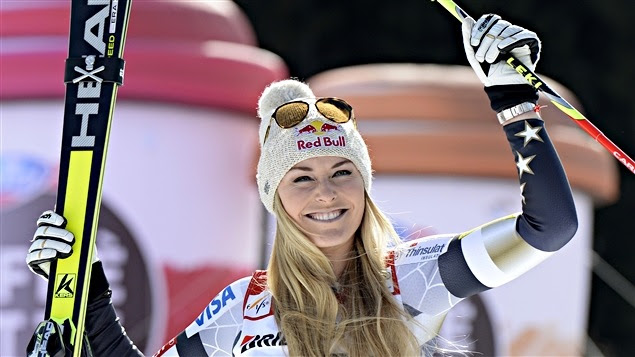 Lindsey Vonn après sa victoire dans le super-G de Garmisch