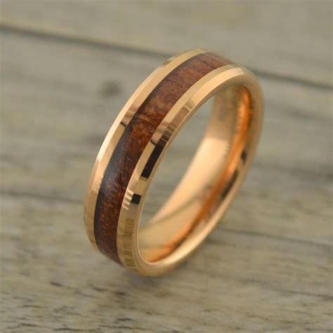 NEW! Rose Gold With Hawaiian Koa Wood Inlay Men's Wedding