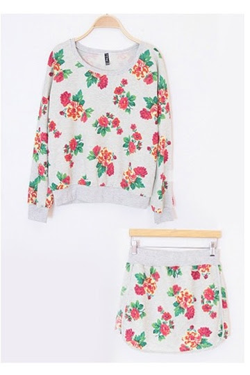 Fancy Flower Print Two-piece Suit