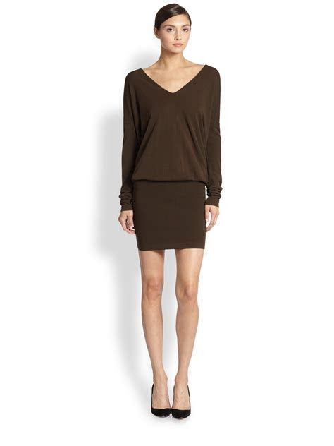 Lyst   Donna Karan Dolman Sleeve Dress in Brown
