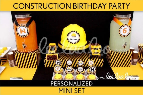 Construction Birthday Party Package Collection Set Mini Personalized Printable // Construction - B2Pz1