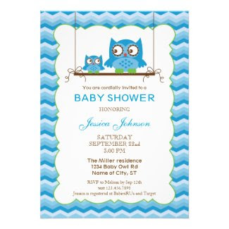 Mom and Baby Owls Boy Baby Shower Invitation