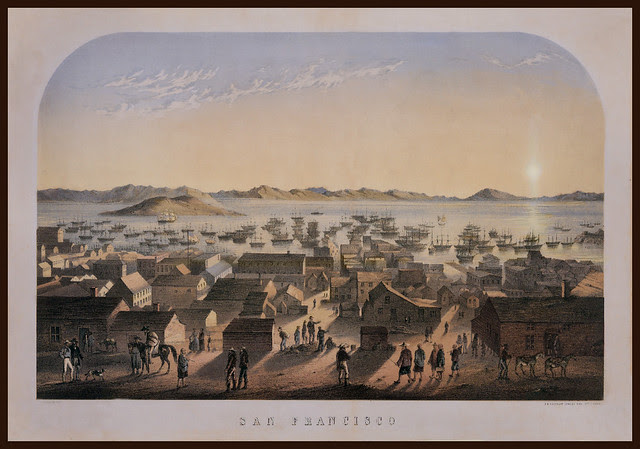 Hilltop of San Francisco, California, looking toward the bay.