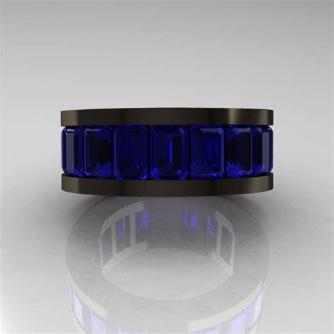 mens modern  black gold blue sapphire channel cluster