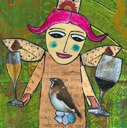 Wine Tops Her Food Pyramid - It is a Tipsy Art Magnet
